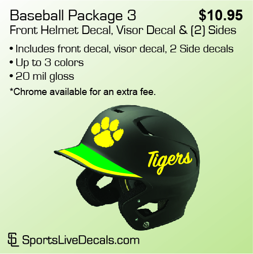 Baseball Package 3 • Front Helmet Decal & Visor Decal & (2) Sides