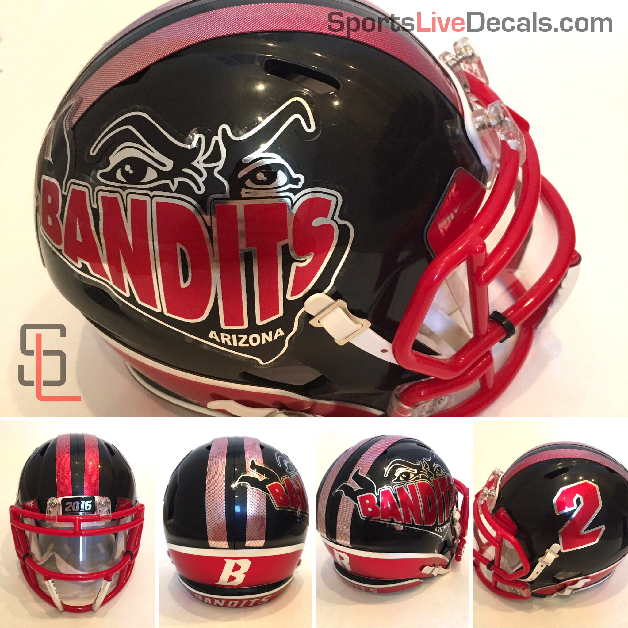 Football Helmet Decals Bumper : Package sides stripe and bumper combo